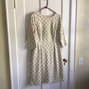 Boden Cream/Metallic Gold Knit Dress Size 10 Long